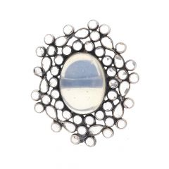 Glossy Oxidized Finish Elegant Floral Design Studded With Synthetic Moon Stone Silver Ring