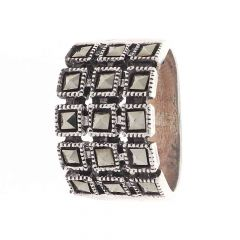 Glossy Oxidized Finish Box Checks Design With Studded Synthetic Marcasite Stone Silver Ring