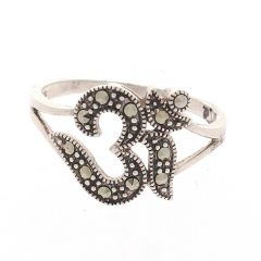 Glossy Oxidized Finish Om Design Silver Ring