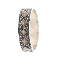 Glossy Oxidized Finish Textured Band Design With Studded Synthetic Marcasite Stone Silver Ring