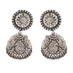 Glossy Oxidized Finish Floral Embossed Peacock Jhumki Design Silver Earring
