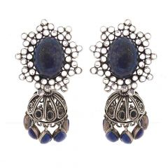 Glossy Oxidized Finish Elegant Synthetic Polki Jhumki Design With Daggling Blue Stone Silver Earring
