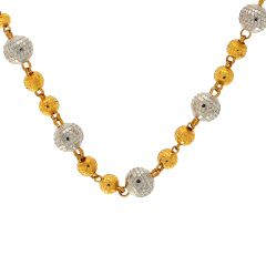 Traditional Textured Rhodium Bead Gold Chain
