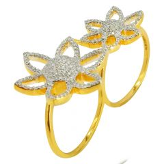 Flower Micropave Dual Finger Diamond Cocktail Ring - CR1827