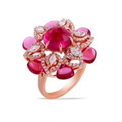 Glittering Floral Cocktail Design Studded With Synthetic Pink Colour Stone Radiant Diamond Ring