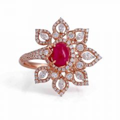 Sparkling Floral Cocktial Design Studded With Synthetic Ruby Mesmerising Diamond Ring