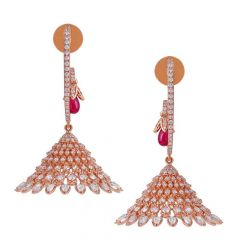 Sparkling Pave Set Chandeliers Design Drop Ruby Rose Gold Diamond Earrings