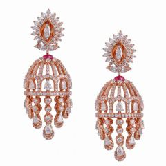 Sparkling Floral Design Studded With Ruby Multi Line Drop Jhumka Diamond Earrings