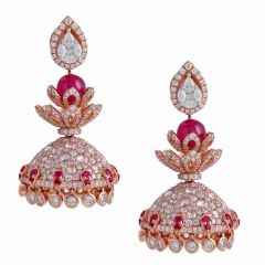 Dazzling Floral Design Studded With Ruby Jhumka Diamond Earrings