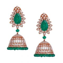 Sparkling Pave Prong Set Jhumka Design Studded With Synthetic Emerald Diamond Earrings
