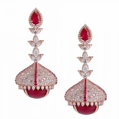 Sparkling Pave Prong Set Jhumka Design Studded With Ruby Diamond Earrings