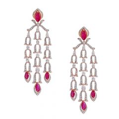 Sparkling Drop Lines Pave Prong Set Dangler Design Studded With Ruby Rose Gold Diamond Earrings