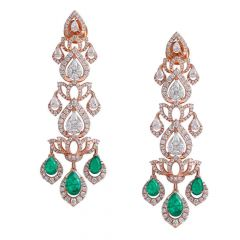 Sparkling Lotus Floral Drop Design Studded With Synthetic Emerald Rose Gold Dangler Diamond Earrings