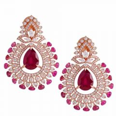 Elegant Sparkling Floral Leafy Design Chand Bali Design Studded With Ruby Rose Gold Diamond Earrings