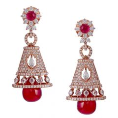 Sparkling Glossy Finish Studded With Ruby Mesmerising Jhumka Diamond Earrings