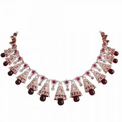 Sparkling Pave Prong Set Drop Bell Design Studded With Ruby Radiant Diamond Necklace