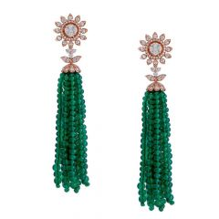 Sparkling Glossy Finish Floral Design Studded With Synthetic Emerald Chandeliers Diamond Earrings