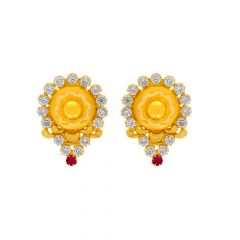 Traditional Textured CZ Gemstone Gold Earrings