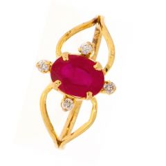Augustina Design Studded With Ruby Diamond Ring-D-CSRNG1003-2086