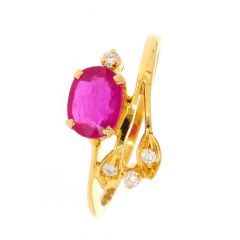 Octavia Studded With Ruby Diamond Ring-D-CSRNG1008-2125