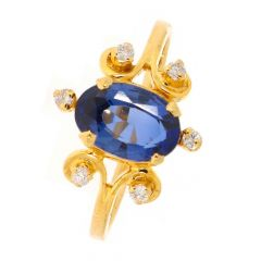 Blossom Design Studded With Blue Sapphire Diamond Ring-D-CSRNG1009-2126