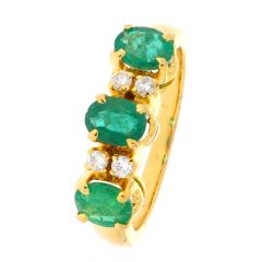 Glorianne Valor Design With Emerald Studded Diamond Ring-D-CSRNG1011-2211