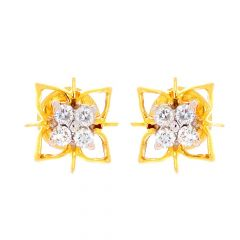 Elegant Glossy Finish Prong Set Amber Cut Out Diamond Earrings
