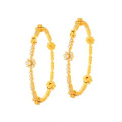 Ceremonial Eternity Floral Openable Diamond Gold Bangle (Set Of Two)