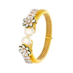 Blooming Enamel Floral Fancy Shape Natural Pearl Openable Flexi Bracelet