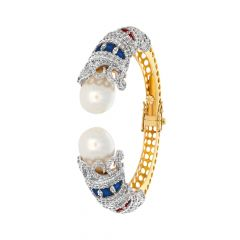 Dazzling Enamel Cutout Fancy Shape Natural Pearl Openable Diamond Bracelet