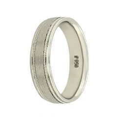 Glossy Textured Finish Design Platinum Band-FE0115