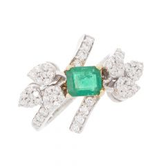 Cocktail Design Studded With Green Emerald Diamond Ring-DEG1007