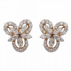 Sparkling Floral Design With Studded Round Cut Diamond Earrings-DER18-39
