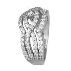 Glittering Crisscross Cluster Diamond Ring-DFR306299