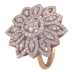 18kt Gold Cluster Diamond Pave Set Cocktail Ring  - DFR923