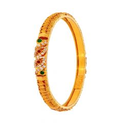 Glossy Finish Diamond Cut Synthetic Emerald Ruby Leafy Design With Studded CZ Gold Bangles