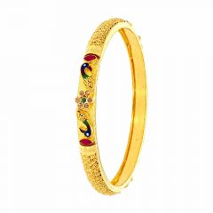 Glossy Finish Multicolour Enamel Synthetic Emerald Ruby Peacock Design With Studded CZ Gold Bangles