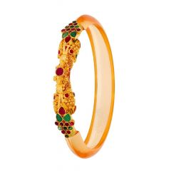 Glossy Finish Embossed Synthetic Emerald Ruby Design With Fiber Band Gold Bangles
