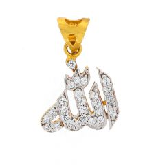 Glossy Finish Allah Design Studded With CZ Gold Pendant
