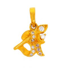 Glossy Finish Om Design Studded With CZ Gold Pendant