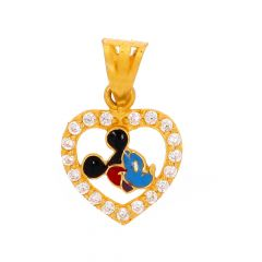 Glossy Finish Multicolour Enamel Mickey In Heart Deisgn Studded With CZ Gold Pendant