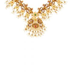 Antique Finish Peacock Floral Drop Pearl Design CZ Studded With Synthetic Ruby Emerald Gold Necklace