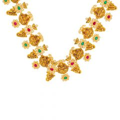 Antique Finish Temple Leafy Design CZ Studded With Synthetic Emerald Ruby Gold Necklace