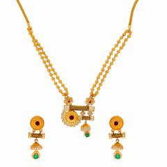 Glossy Finish Diamond Cut Floral Drop Design CZ Studded With Synthetic Onyx Gold Necklace Set