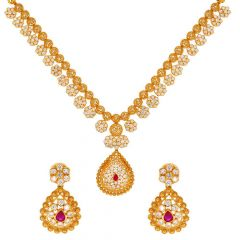 Glossy Finish Filigree Floral Drop Design CZ Studded With Synthetic Ruby Gold Necklace Set