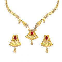 Glossy Finish Filigree Floral Design CZ Studded With Synthetic Ruby Gold Necklace Set