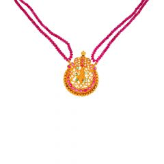 Matte Finish Filigree Lord Krishana Design CZ Studded With Synthetic Ruby Emerald Gold Necklace