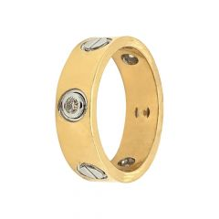 Matte Finish Band Design Two Tone Diamond Ring