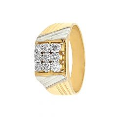 Sparkling Two Tone Prong Set Diamond Ring