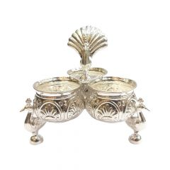 Silver Peacock Chopra Three Cups With Peacock Stand Artifact